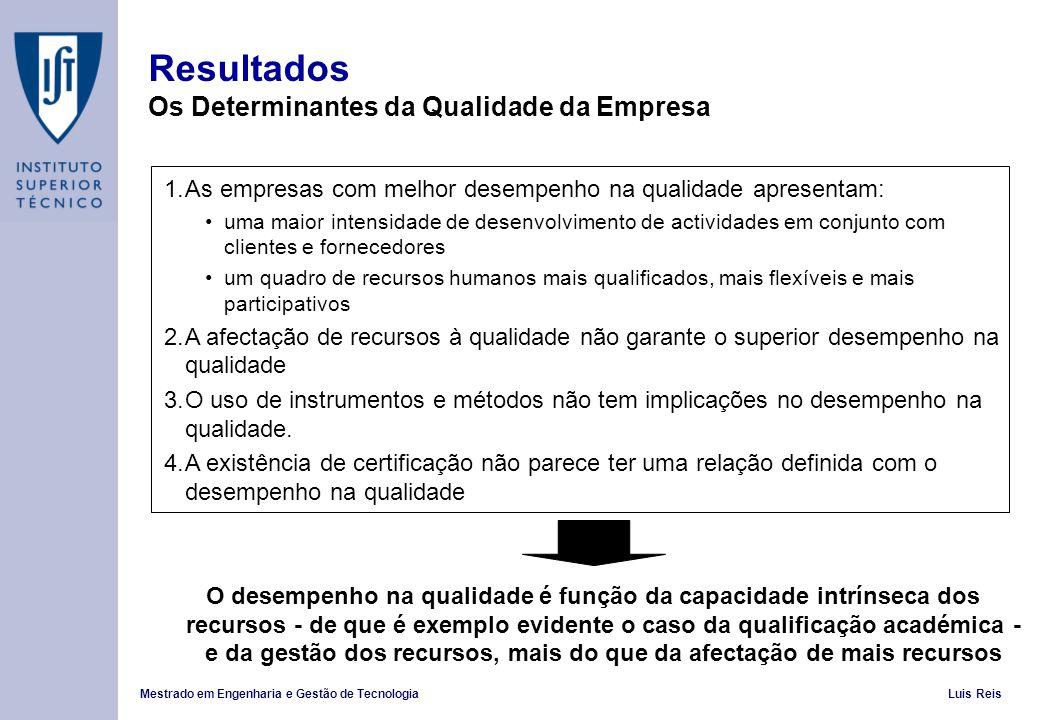 Resultados Os Determinantes da Qualidade da Empresa