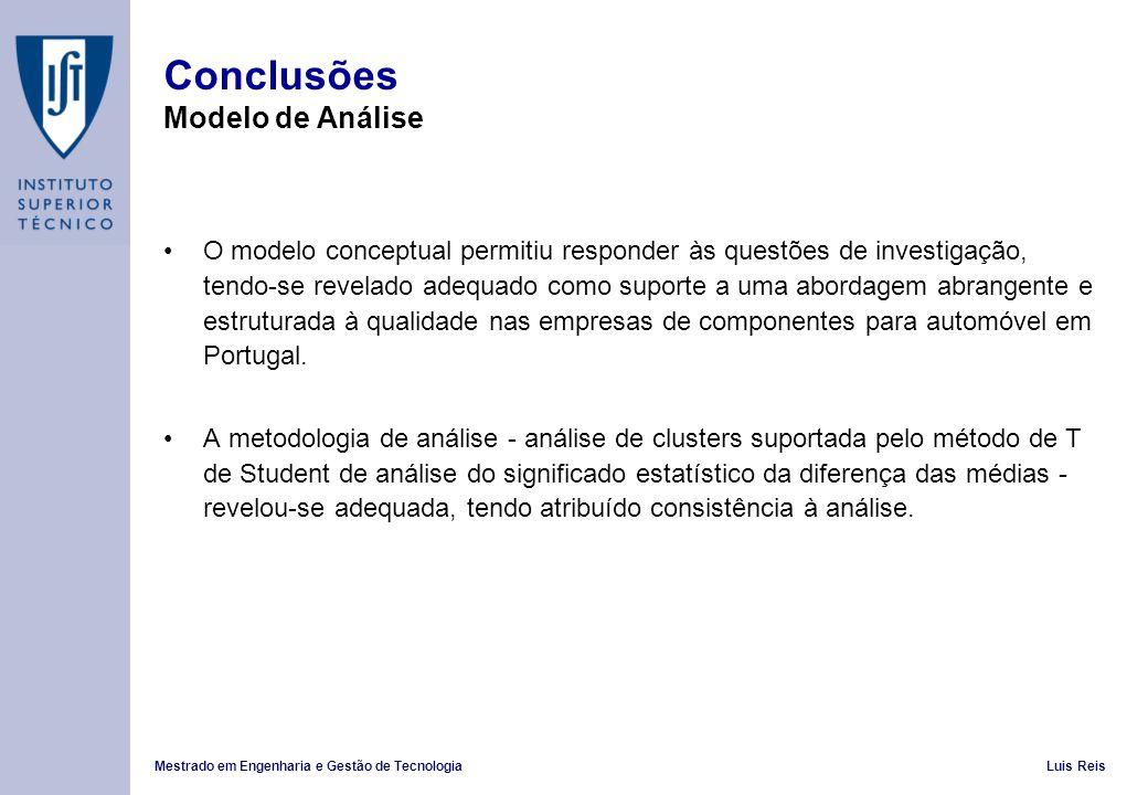 Conclusões Modelo de Análise
