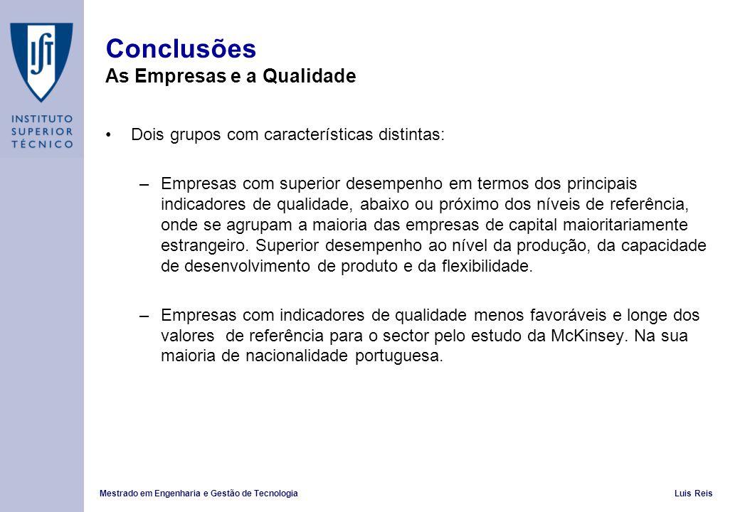 Conclusões As Empresas e a Qualidade