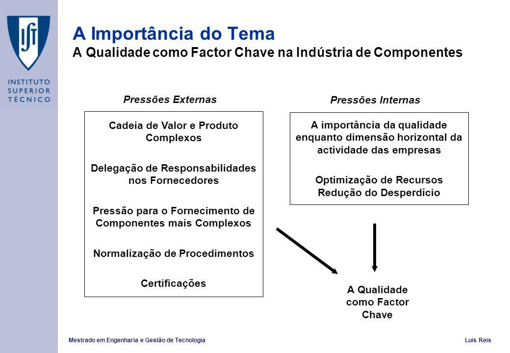 A Importância do Tema A Qualidade como Factor Chave na Indústria de Componentes
