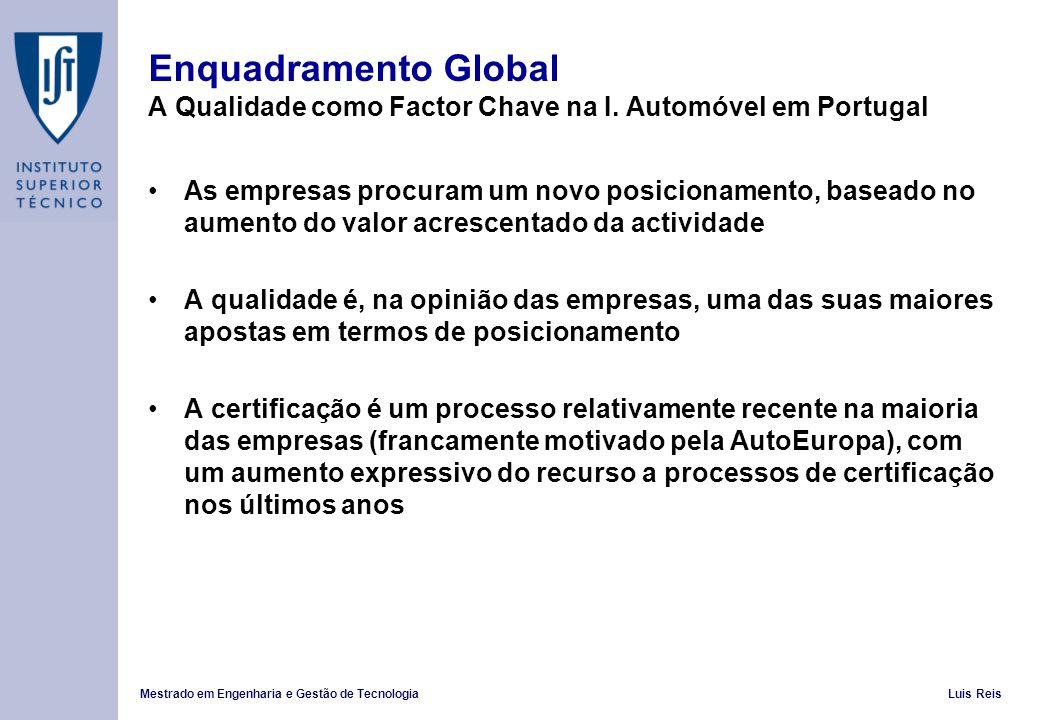 Enquadramento Global A Qualidade como Factor Chave na I