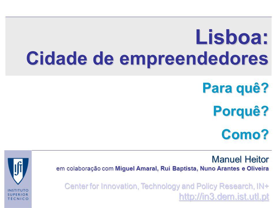 Lisboa: Cidade de empreendedores Para quê Porquê Como Manuel Heitor