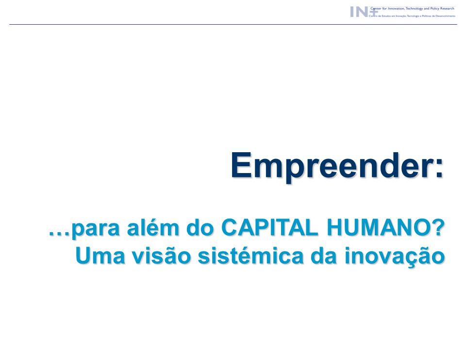 Empreender: …para além do CAPITAL HUMANO Uma visão sistémica da inovação