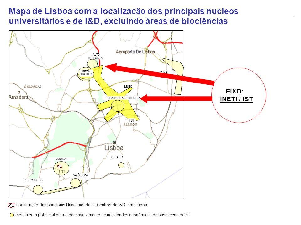 Mapa de Lisboa com a localizacäo dos principais nucleos universitários e de I&D, excluindo áreas de biociências