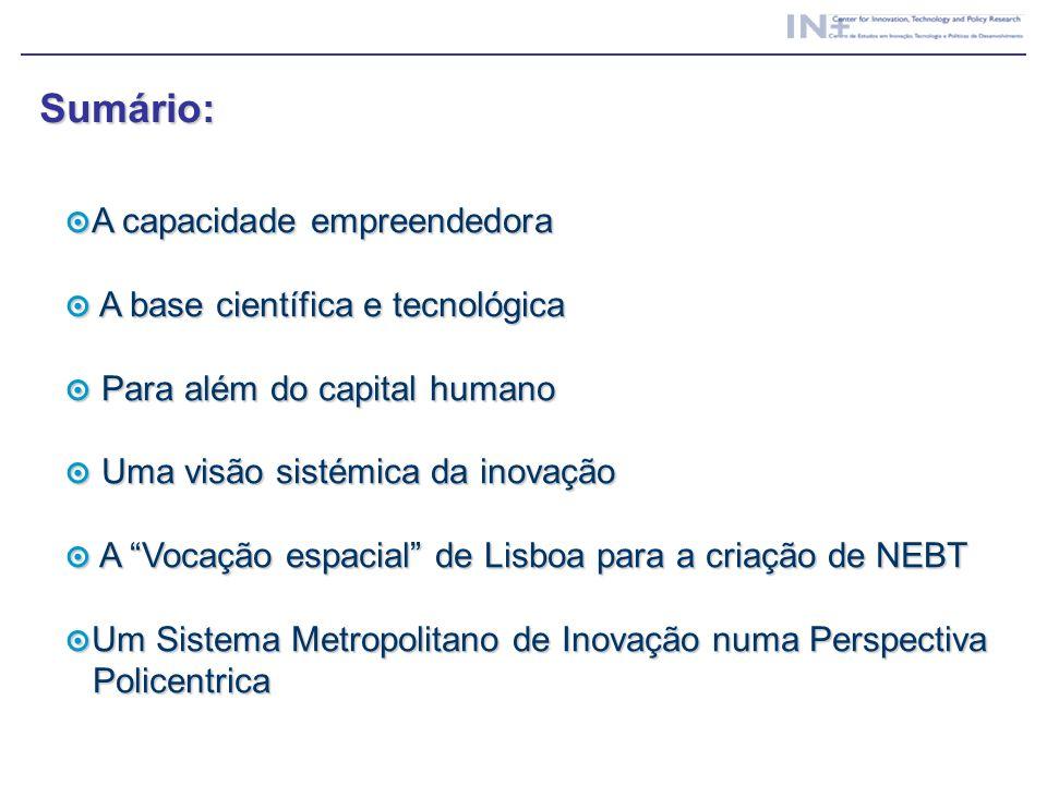 Sumário: A capacidade empreendedora A base científica e tecnológica