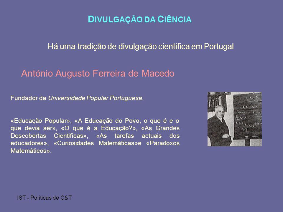 Há uma tradição de divulgação cientifica em Portugal