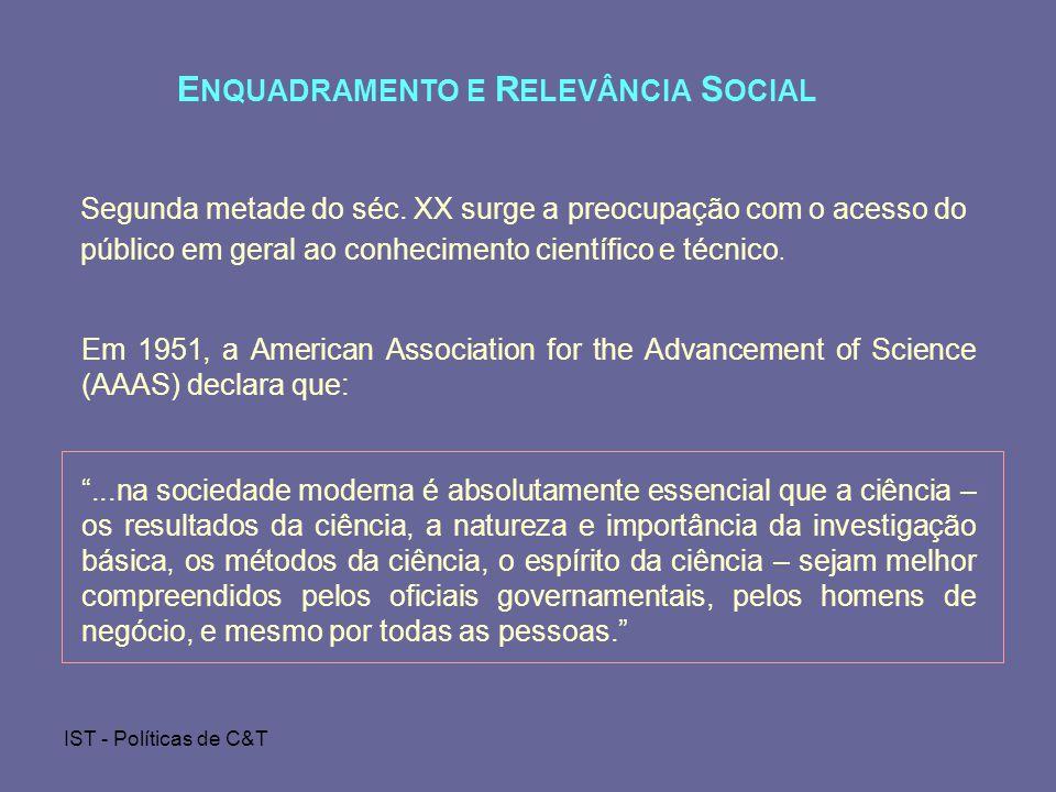 ENQUADRAMENTO E RELEVÂNCIA SOCIAL