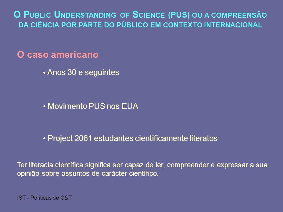 O PUBLIC UNDERSTANDING OF SCIENCE (PUS) OU A COMPREENSÃO DA CIÊNCIA POR PARTE DO PÚBLICO EM CONTEXTO INTERNACIONAL
