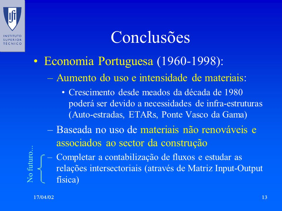 Conclusões Economia Portuguesa (1960-1998):