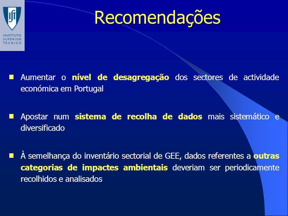 Recomendações Aumentar o nível de desagregação dos sectores de actividade económica em Portugal.
