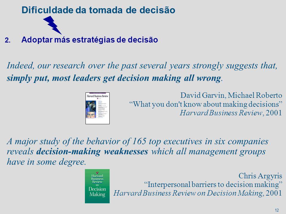 Dificuldade da tomada de decisão