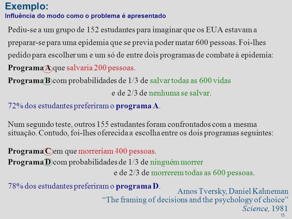Exemplo: Influência do modo como o problema é apresentado