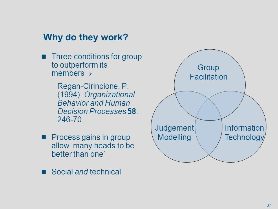 Why do they work Three conditions for group to outperform its members