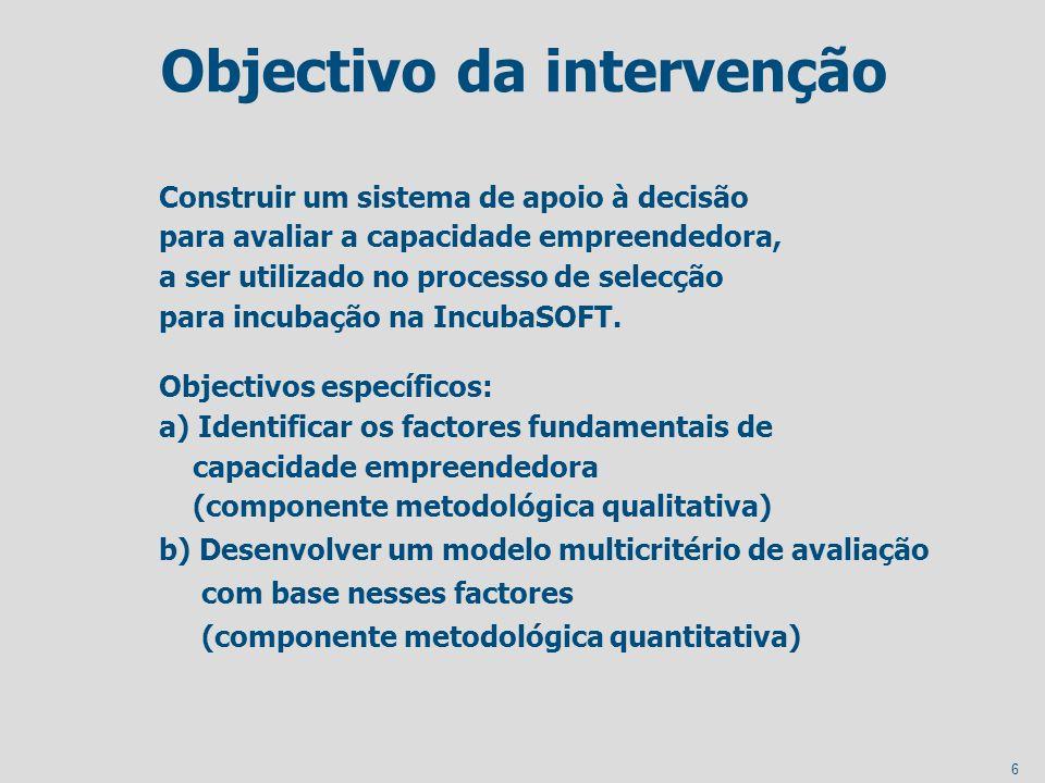 Objectivo da intervenção