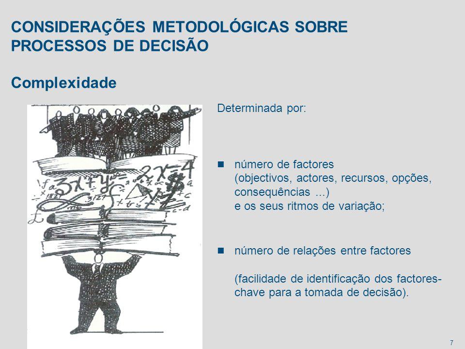 CONSIDERAÇÕES METODOLÓGICAS SOBRE PROCESSOS DE DECISÃO Complexidade