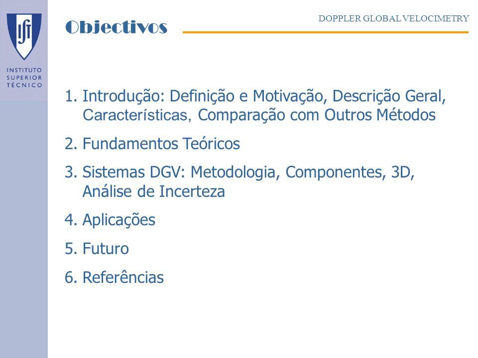 Objectivos DOPPLER GLOBAL VELOCIMETRY. Introdução: Definição e Motivação, Descrição Geral, Características, Comparação com Outros Métodos.