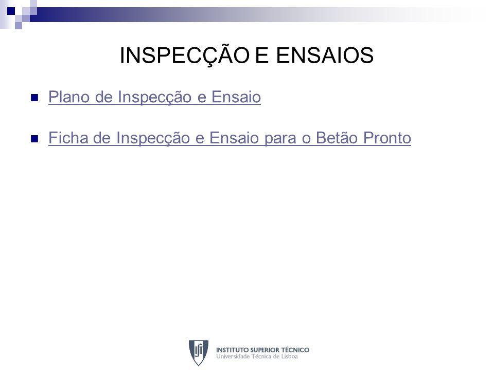 INSPECÇÃO E ENSAIOS Plano de Inspecção e Ensaio
