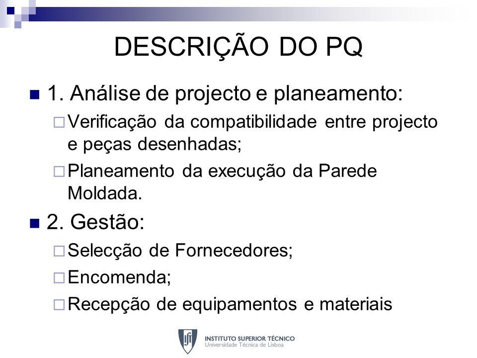 DESCRIÇÃO DO PQ 1. Análise de projecto e planeamento: 2. Gestão: