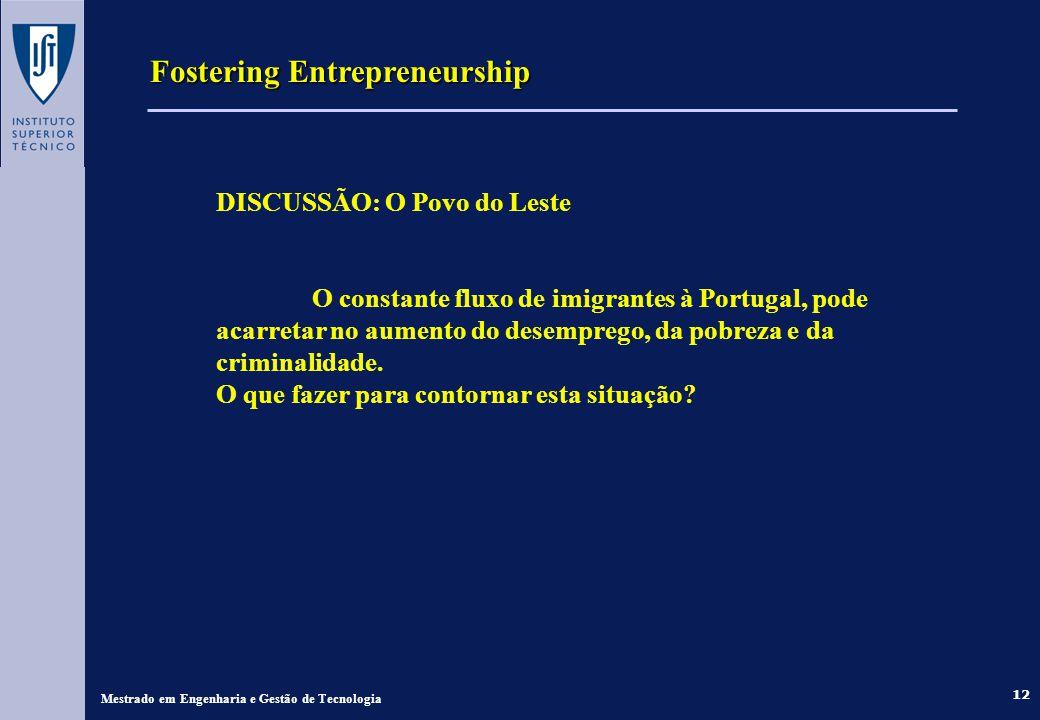 Fostering Entrepreneurship