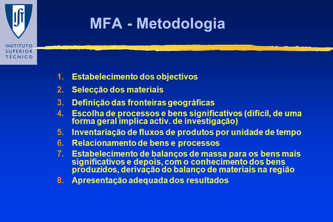 MFA - Metodologia Estabelecimento dos objectivos