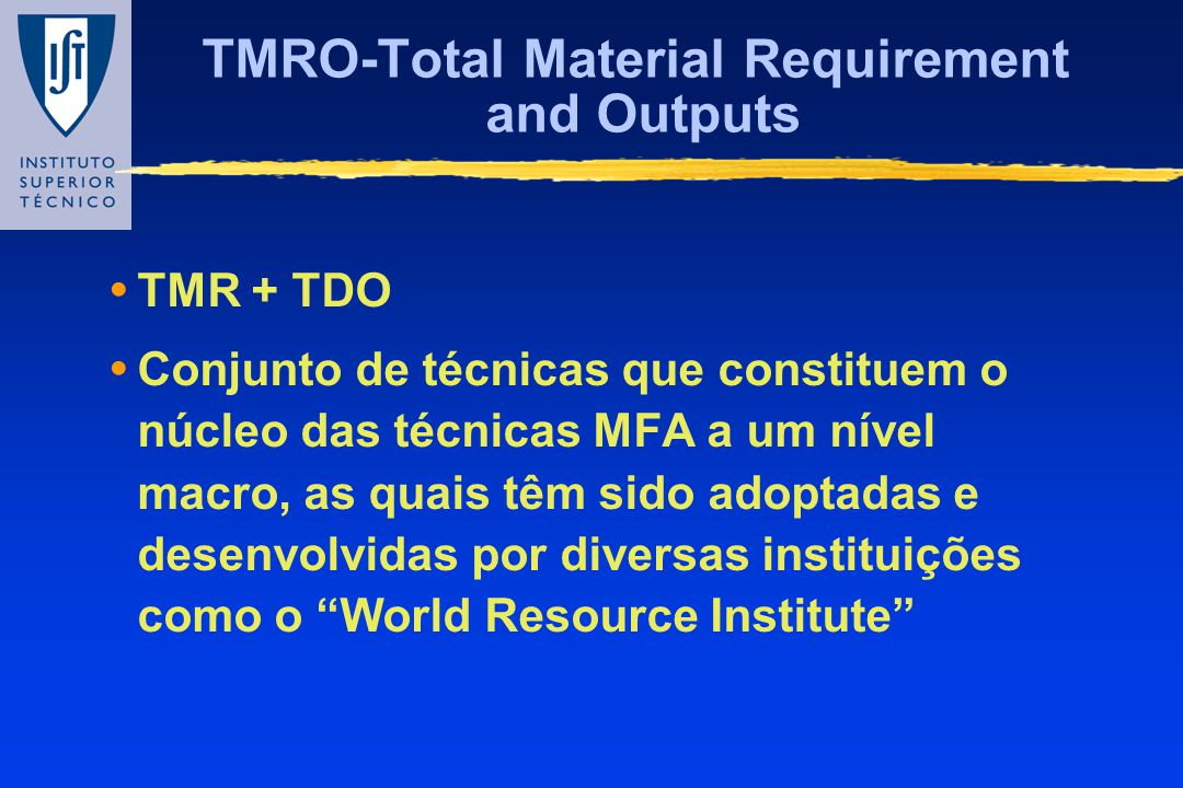 TMRO-Total Material Requirement and Outputs