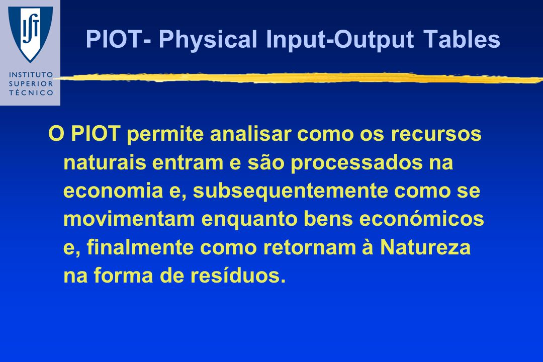 PIOT- Physical Input-Output Tables