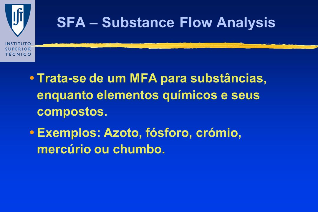 SFA – Substance Flow Analysis