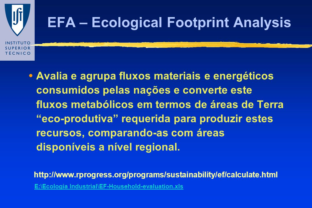 EFA – Ecological Footprint Analysis