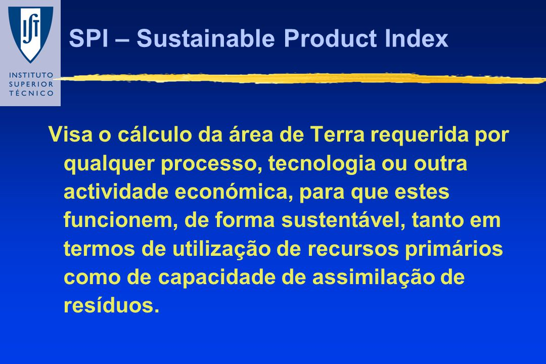 SPI – Sustainable Product Index