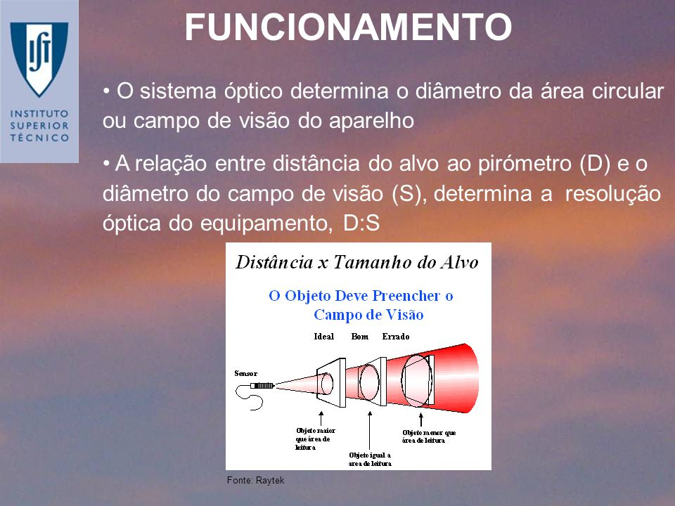 FUNCIONAMENTO O sistema óptico determina o diâmetro da área circular ou campo de visão do aparelho.