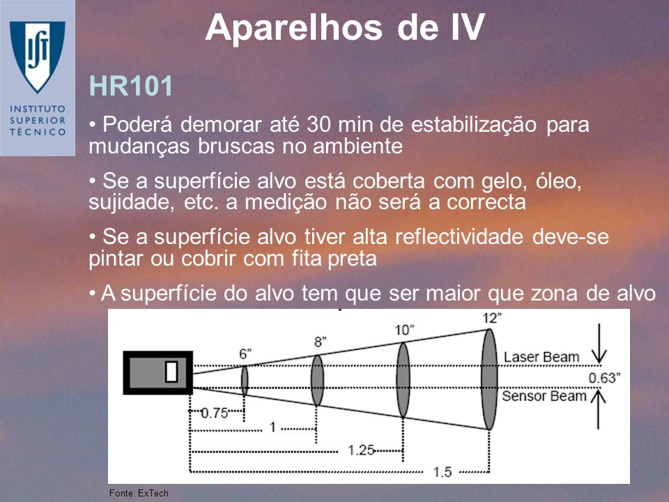 Aparelhos de IV HR101. Poderá demorar até 30 min de estabilização para mudanças bruscas no ambiente.