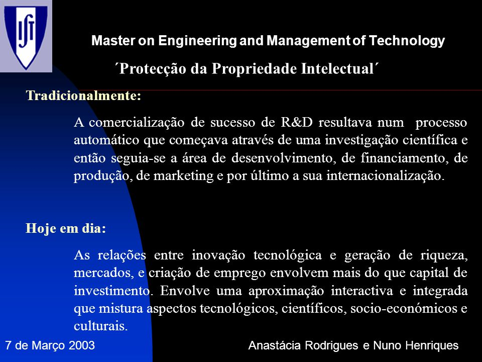 Master on Engineering and Management of Technology