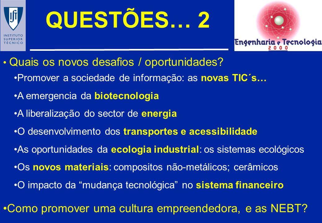 QUESTÕES… 2 Como promover uma cultura empreendedora, e as NEBT