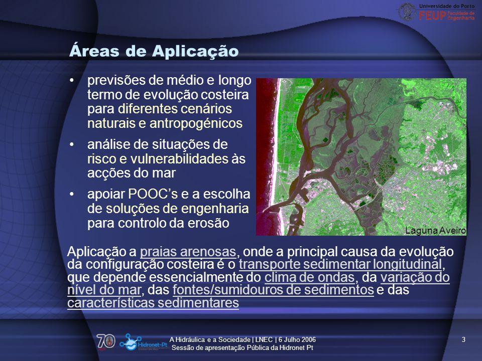 Áreas de Aplicação previsões de médio e longo termo de evolução costeira para diferentes cenários naturais e antropogénicos.