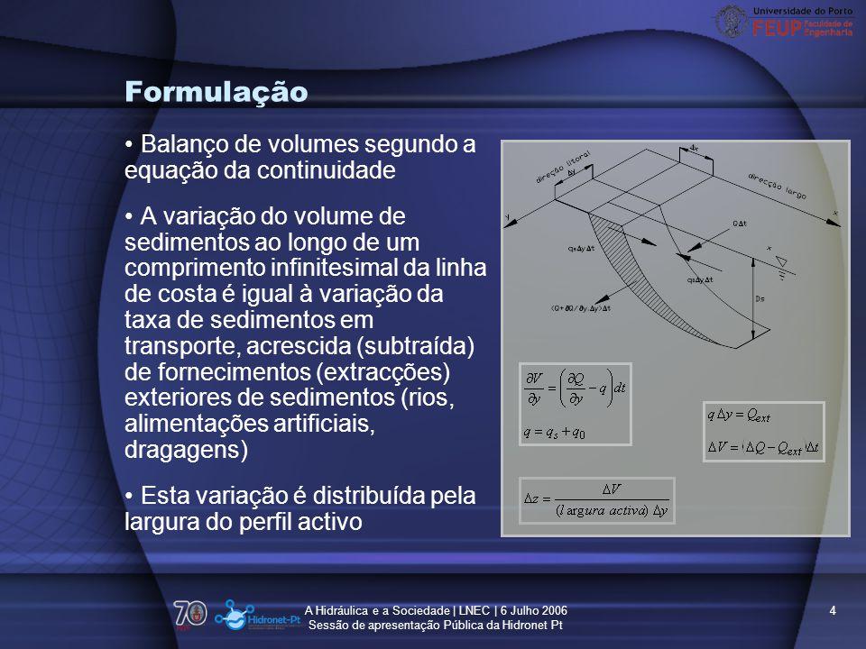 Formulação Balanço de volumes segundo a equação da continuidade
