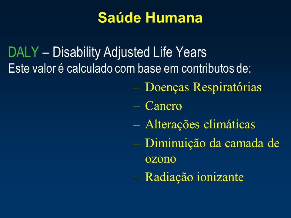 DALY – Disability Adjusted Life Years