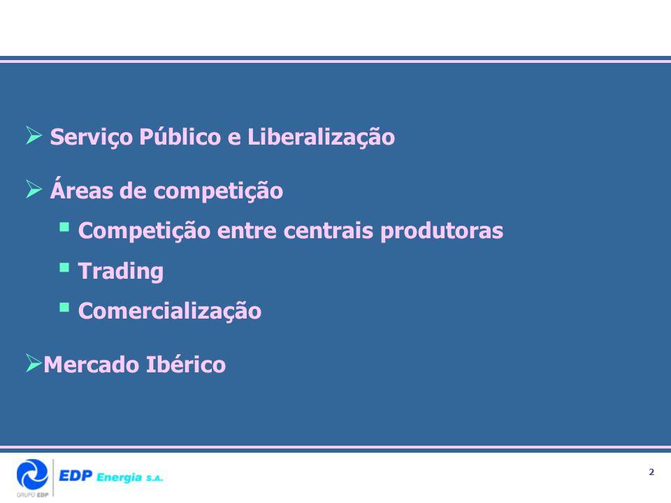 Serviço Público e Liberalização Áreas de competição