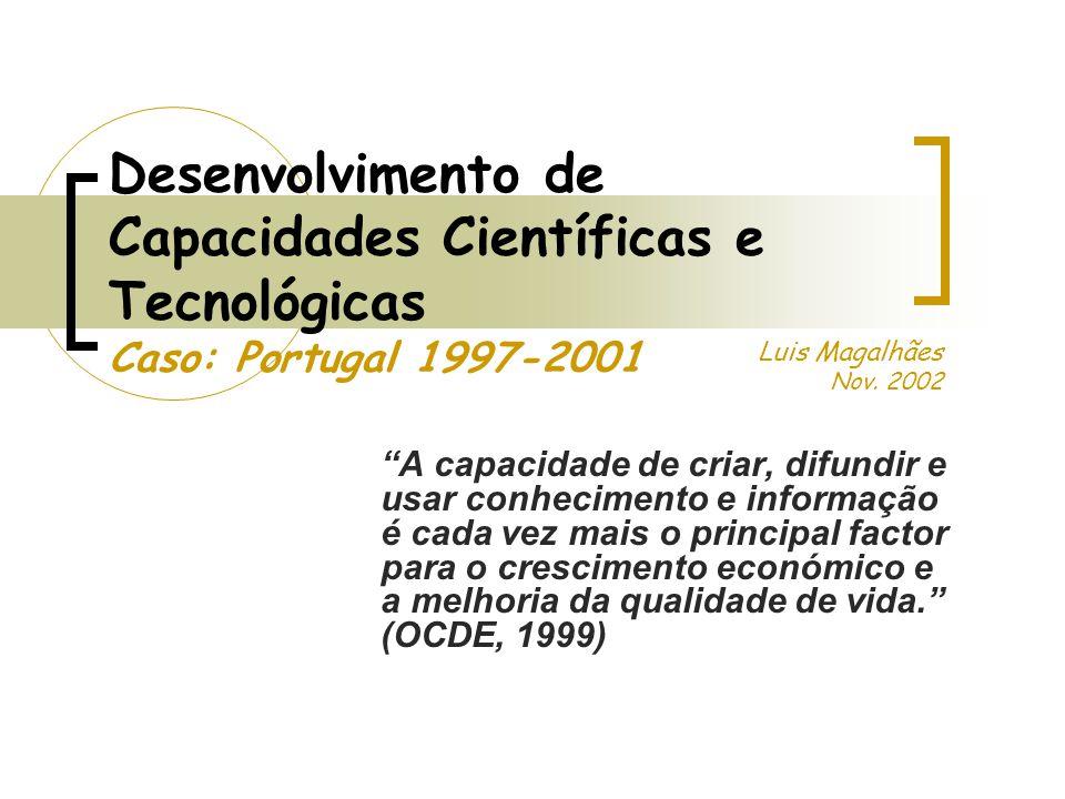Desenvolvimento de Capacidades Científicas e Tecnológicas Caso: Portugal 1997-2001