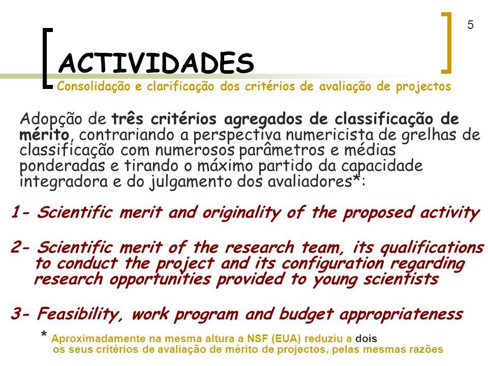 5 ACTIVIDADES Consolidação e clarificação dos critérios de avaliação de projectos.