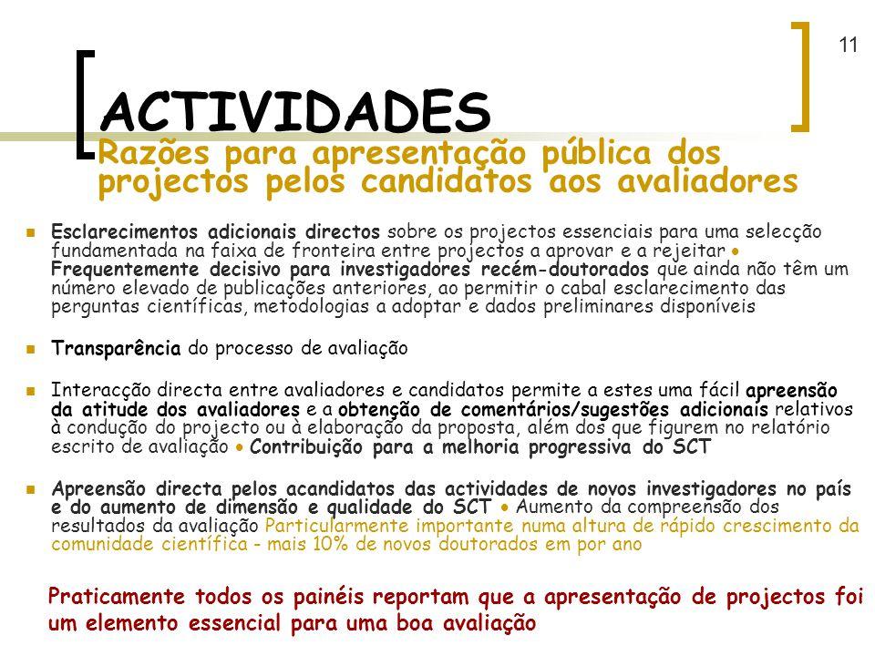 11 ACTIVIDADES Razões para apresentação pública dos projectos pelos candidatos aos avaliadores.