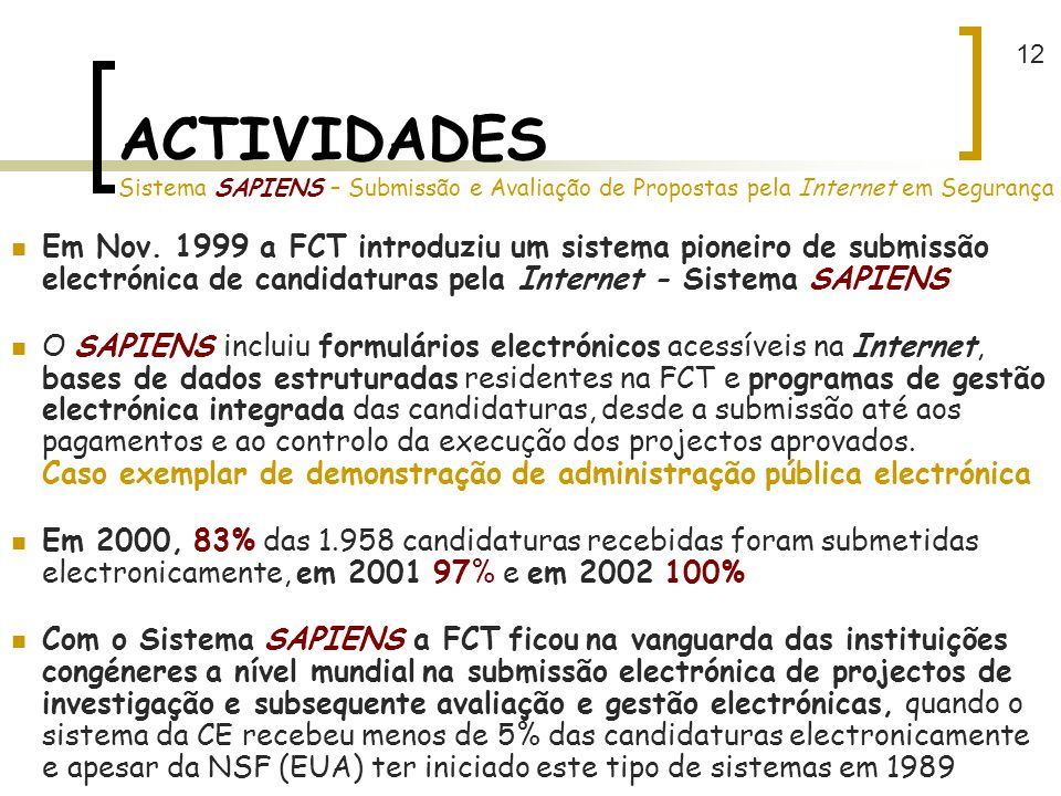12 ACTIVIDADES Sistema SAPIENS – Submissão e Avaliação de Propostas pela Internet em Segurança.