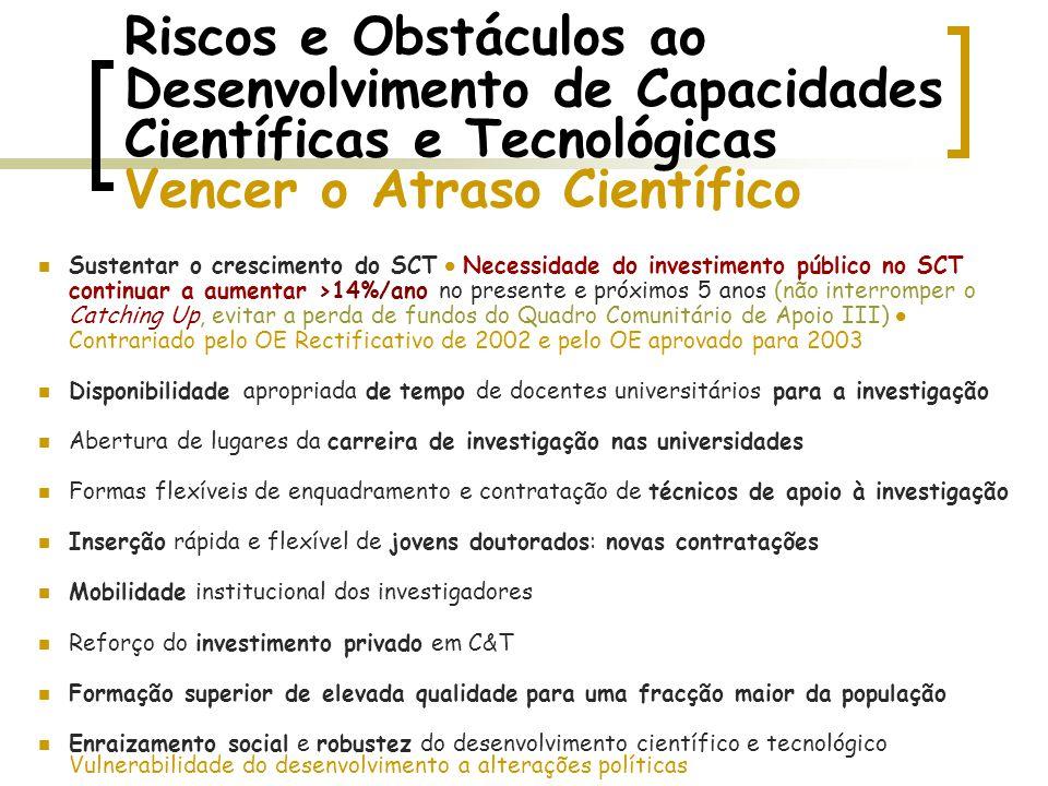 Riscos e Obstáculos ao Desenvolvimento de Capacidades Científicas e Tecnológicas Vencer o Atraso Científico