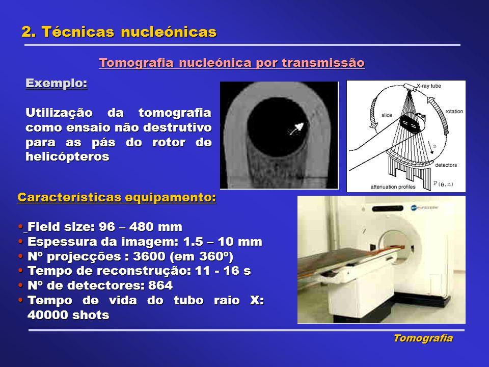 2. Técnicas nucleónicas Tomografia nucleónica por transmissão Exemplo: