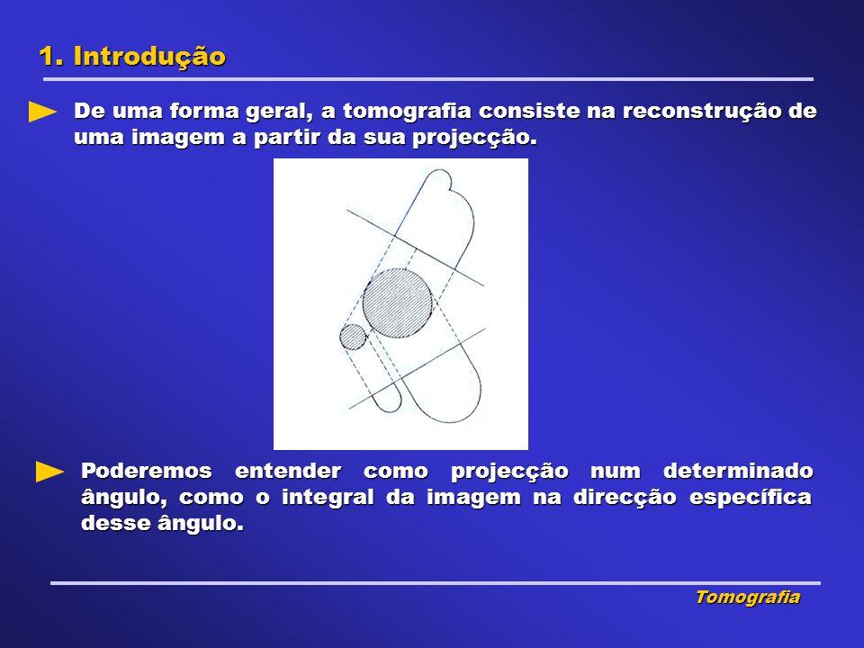 1. Introdução De uma forma geral, a tomografia consiste na reconstrução de uma imagem a partir da sua projecção.