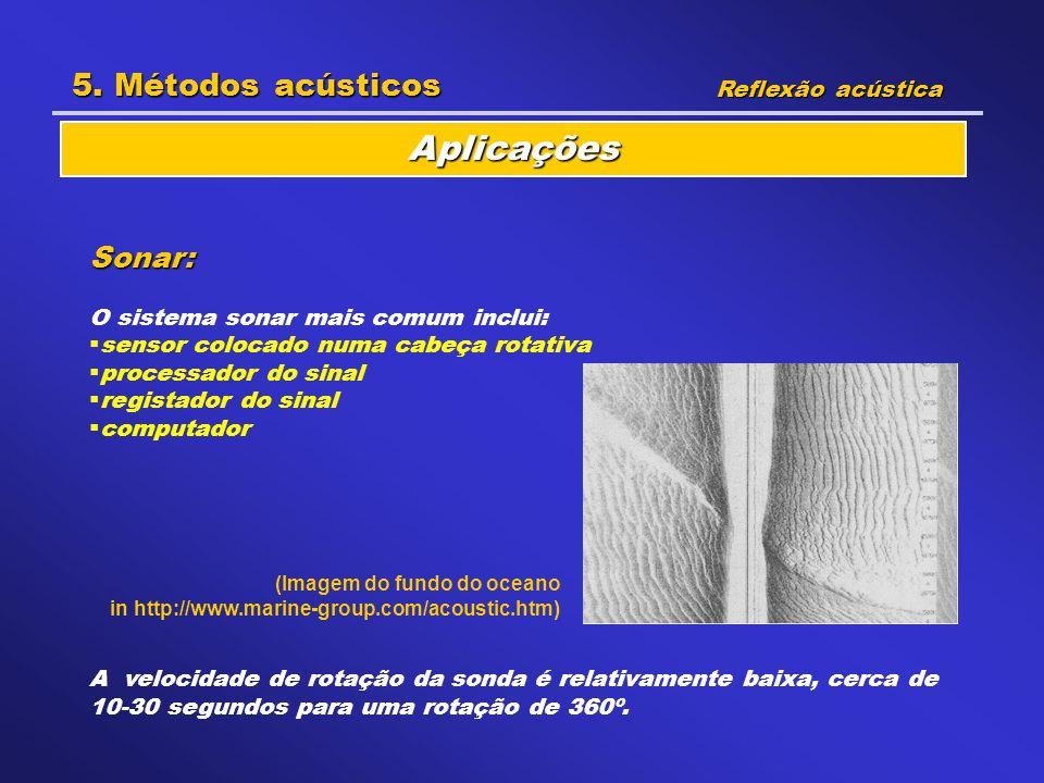 Aplicações 5. Métodos acústicos Sonar: Reflexão acústica