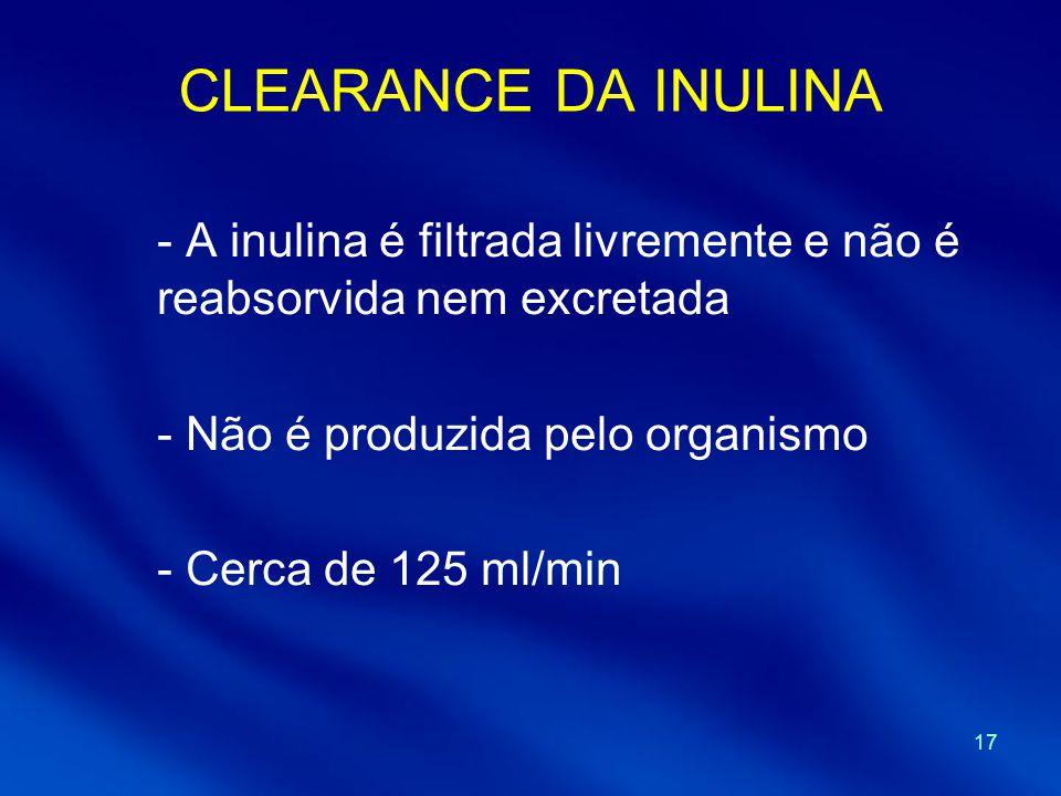 CLEARANCE DA INULINA A inulina é filtrada livremente e não é reabsorvida nem excretada. Não é produzida pelo organismo.