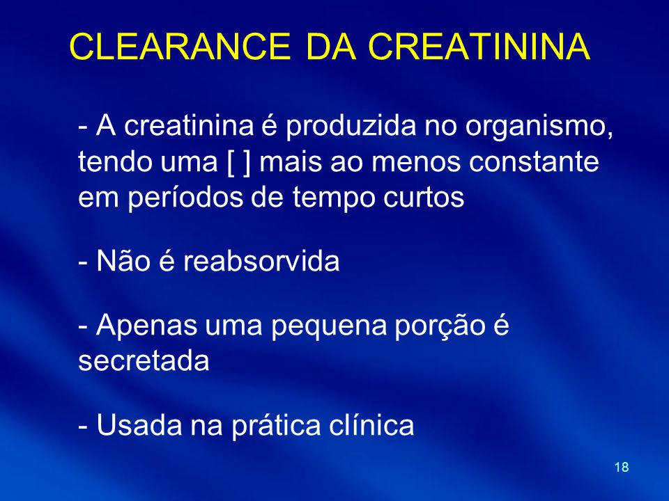 CLEARANCE DA CREATININA