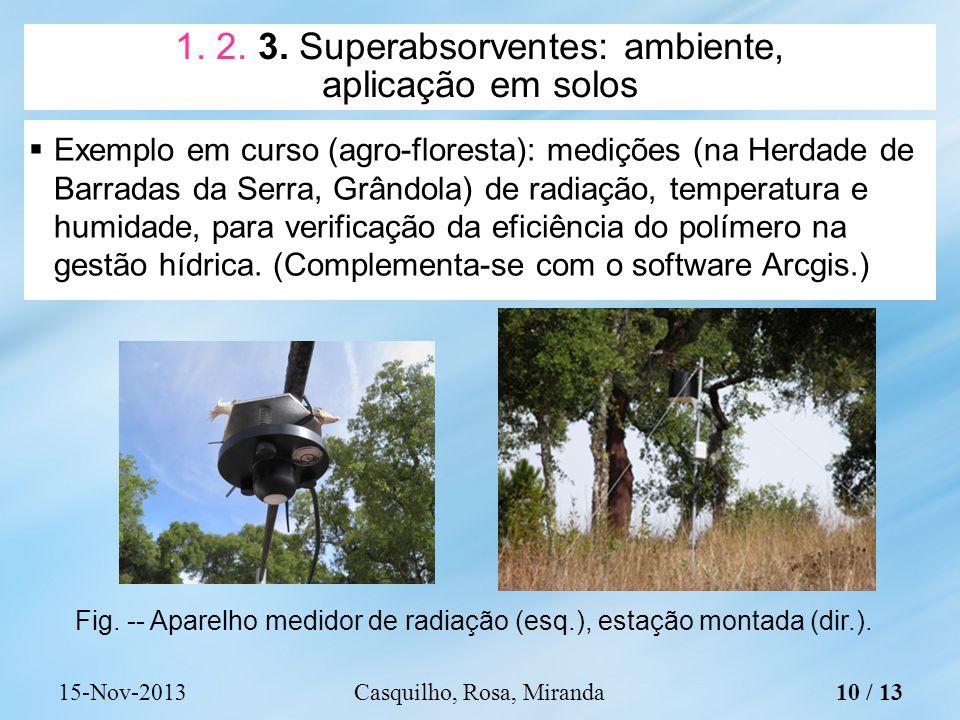 1. 2. 3. Superabsorventes: ambiente, aplicação em solos