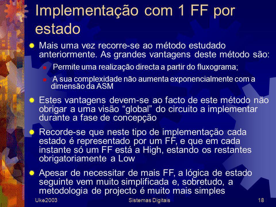 Implementação com 1 FF por estado