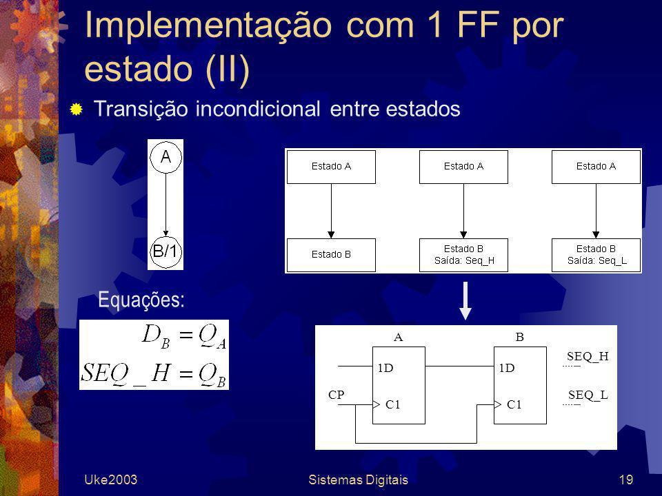 Implementação com 1 FF por estado (II)
